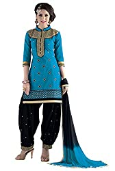 Justkartit Women's Unstitched Blue & Black Colour Amazing Patiyala Salwar Kameez / Daily Wear beautiful Salwar Suit Set / High Quality Patiala Salwar Suit For Women & Girls ( September - October 2016 Launch)