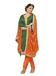 Subhash Sarees Daily Wear Green Color Banarasi Silk Salwar Suit Dress Material