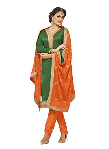 Subhash Sarees Daily Wear Green Color Banarasi Silk Salwar Suit Dress Material