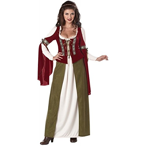 [GSG Maid Marian Costume Adult Medieval/Renaissance Fair Wench Halloween Dress] (Medieval Fancy Dress Plus Size)