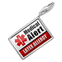 "NEONBLOND Charms Medical Alert Red ""Latex Allergy"" - Bracelet Clip On by NEONBLOND Jewelry & Accessories"