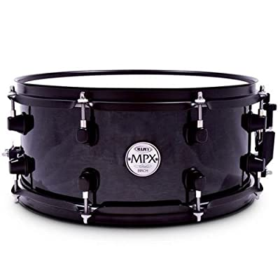 Mapex MPX 13 inch x 06 inch all birch snare drum in Transparent Black lacquer finish with black hardware