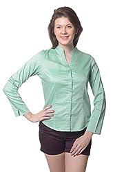 Meira Full Sleeve Chinese Collar SeedGreen Samray Shirt for Women (Large)