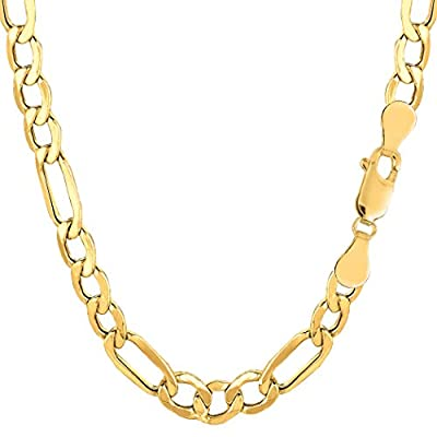 14k Yellow Gold Hollow Figaro Chain Necklace, 6.5mm
