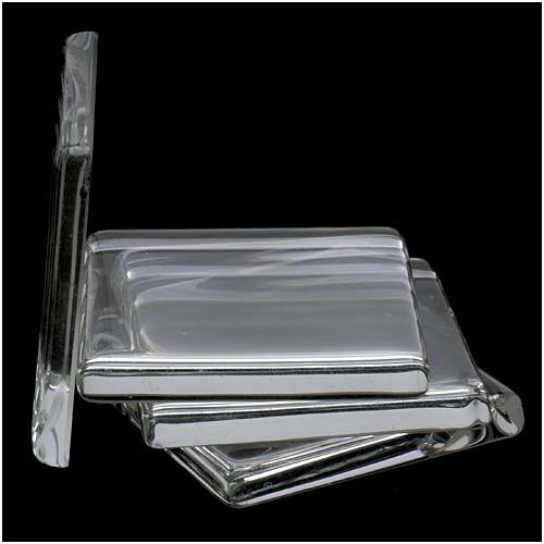 Ultra Clear Smooth Square White Glass Tiles For Jewelry, Magnet Making 1 3/8 Inches (4 Beads)