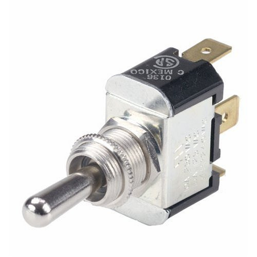 """Ancor 555025 Marine Grade Electrical Nickel Plated Brass Toggle Switch (Constant On / Constant Off, Single Pole/Single Throw, Bat With 1/4"""" Tab)"""