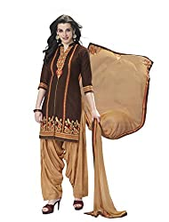 Kvsfab Brown Pure Cotton Cambric Embroiderd Patiala Dress Material