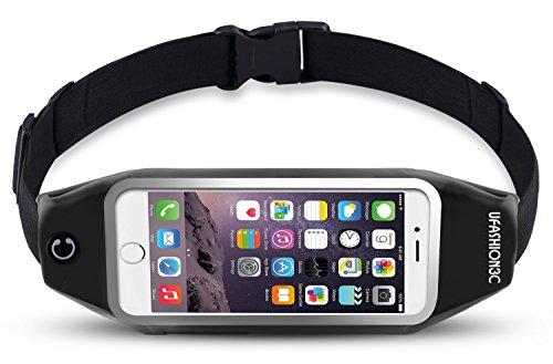 UFashion3C Running Belt Waist Pack Pouch for iPhone 7, 7 Plus, 6S, 6S Plus, 6, 6 Plus, Galaxy J7, S5, S6, S7, Edge, Note 3, 4, 5, LG G3, G4, G5 with OtterBox/ LifeProof Waterproof Case (Black)