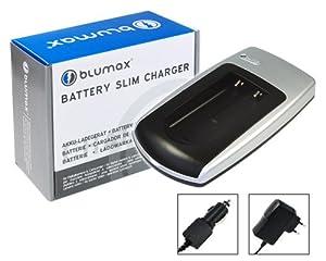 Blumax Chargeur secteur (220V) voiture (12V/24V) pour Canon NB-2L, NB-2LH, NB-2L18, BP-2L12, BP-2L14, BP-2L5: EOS 350D, 400D / PowerShot G7, G9, S30, S40, S45, S50, S60, S70, S80 / MV5, MV5i, MV5iMC