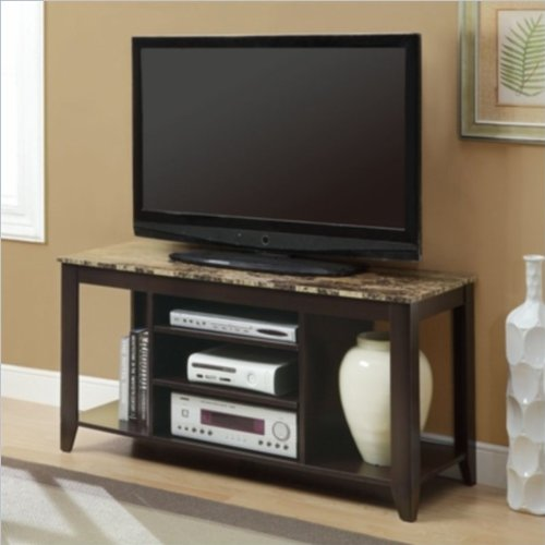 Monarch Specialties Top Length TV Console, 48-Inch, Cappuccino/Marble