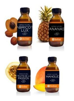 Arome naturel : lot de 4 flacons50 ml : Abricot - Ananas - Mangue - Passion