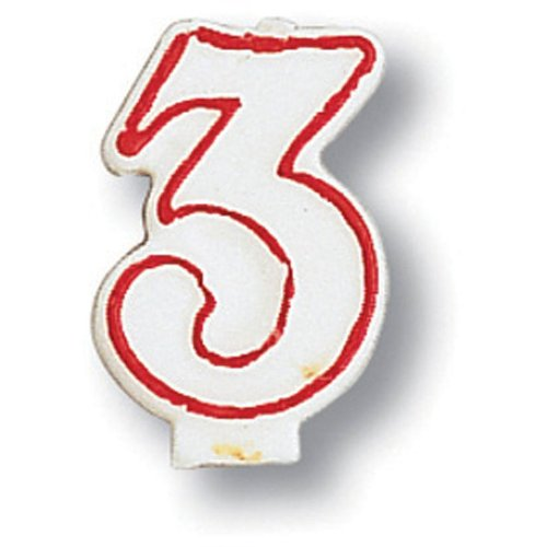 Creative Converting 80144033 #3 Red Outline Numeral Birthday Candle - 1