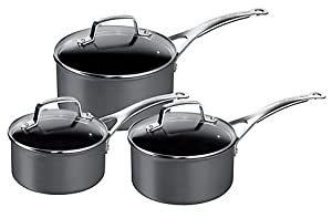 Jamie Oliver By Tefal Hard Anodised Saucepans with Lids, Set of 3, Black