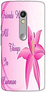 Snoogg Background With Lily Flower Designer Protective Back Case Cover For Motorola Moto X Play