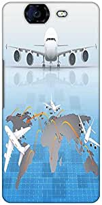 Snoogg Airplane Around The World Designer Protective Back Case Cover For Micromax Canvas Knight A350
