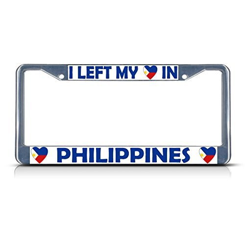 I Left My Heart In Philippines Flag Chrome Metal License Plate Frame (Philippine Salt compare prices)