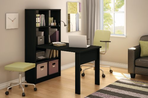 South Shore Annexe Craft Table and Storage Unit Combo, Pure Black