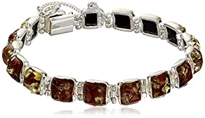 """Baltic Red Amber and Sterling Silver Classic Bracelet, 7"""""""