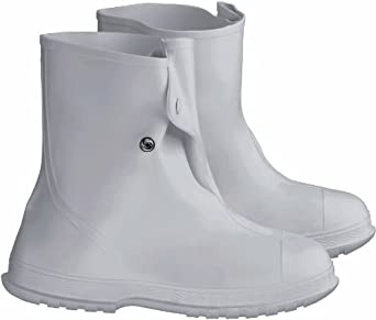 "ONGUARD 81020 PVC Men's Overshoe with 4 Way Cleated Outsole, 10"" Height, White, Size X-Large"