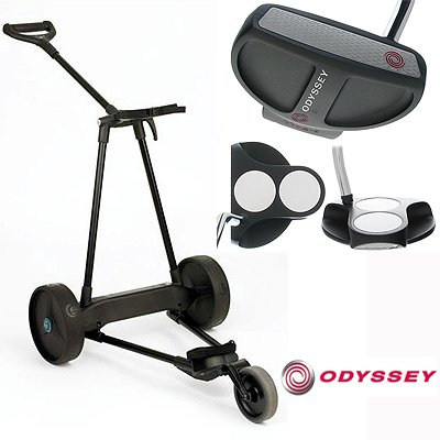 New! Emotion E3 23Lbs Pull Push Electric Motorized 3-Wheel Golf Cart Trolley + New! Odyssey Metal-X 2-Ball Putter