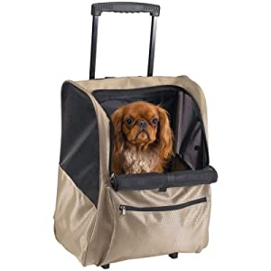 Casual Canine Deluxe Backpack Pet Carrier On Wheels
