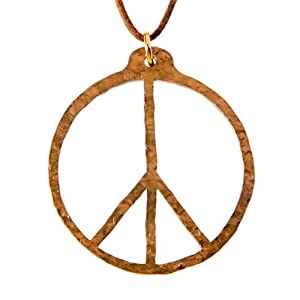 Hand Hammered Delicate Peace Symbol Peace Bronze Pendant Necklace on Adjustable Natural Fiber Cord