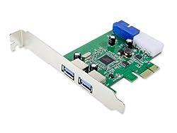 Syba USB 3.0 External 2 Port with 19-Pin Header PCI-e 2.0 x1 Card SY-PEX20140
