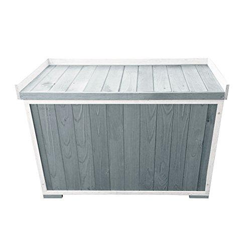 Auflagenbox stabile Gartenbox mit Sitz für Garten und Terrasse für zwei Personen aus Holz | Farbe: weiß/grau jetzt kaufen