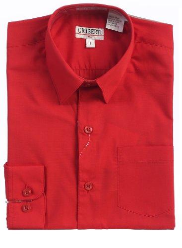 Gioberti Kid'S Boy'S Long Sleeve Solid Dress Shirt, Red, 3T