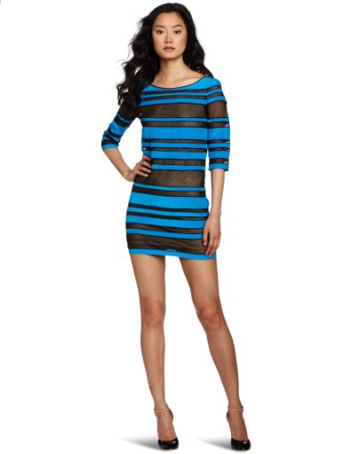 Robert Rodriguez Women's Sheer Striped Shift Dress, Cobalt, 4
