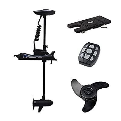 "Haswing Cayman 12v 55lbs Bow Mount Electric Trolling Motor Black 48"" Shaft with Quick Release Brakcet"
