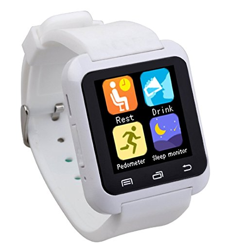 Newest version upgrade of U8, EasySMX Bluetooth Smart Watch Wrist Watch Sport for Samsung S4/Note 2/Note 3 HTC Android Phone (White)