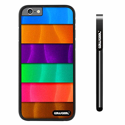 CowCool® Apple iphone 6 4.7 inch Case Hard PC Rainbow gradient texture Black Shell Single Layer Protective Case (Style1)