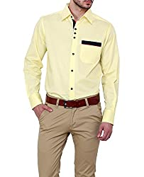 Dazzio Men's Slim Fit Cotton Casual Shirt (DZSH0135_Grey_44)