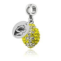 Missouri Tigers Crystal Football Drop Charm Fits All Pandora Style Bracelets