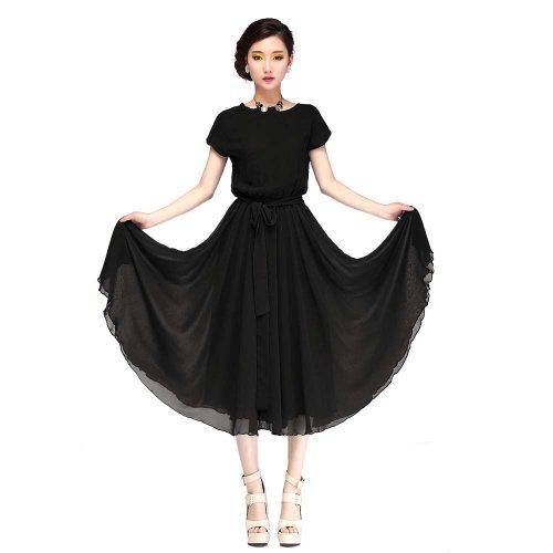 Piggy2gether- Elastic Waist Chiffon Plus Size Loose Dress Beach dress, Black, XXL