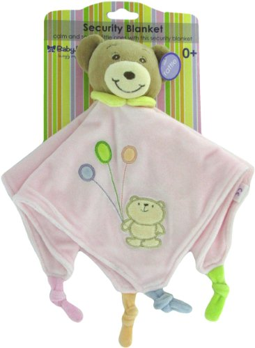 Baby Bow Teddy Bear Rattle Blanket in Pink by