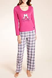 Pure Cotton Long Sleeve Checked Print Tweet Dream Pyjamas [T37-1593-S]
