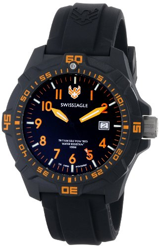 Swiss Eagle Ever Brite Men's Quartz Watch with Black Dial Analogue Display and Black Silicone Strap SE 9042 03