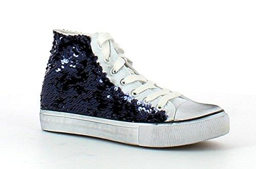 A301 FRANCESCO MILANO Sneaker donna con paiette (38, Blu)