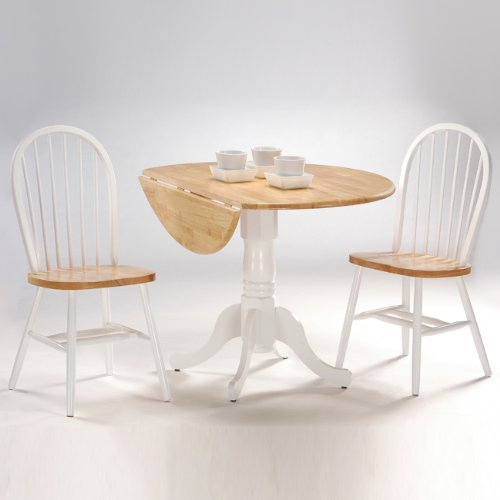 International Concepts 3-Piece 42-Inch Dual Drop Leaf Pedestal Table with 2 Windsor Chairs, White/Natural Finish (Pedestal Table With Chairs compare prices)