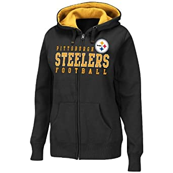 Pittsburgh Steelers Ladies Black Deep Post III Full Zip Hooded Sweatshirt by VF