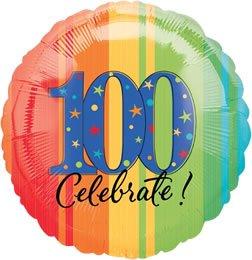 18 in. - 100th Year To Celebrate Metallic Balloon - Each