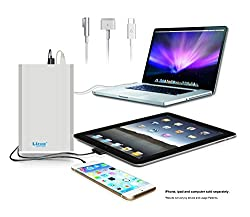 Lizone® 50000mAh Extra Pro External Battery Charger for Apple MacBook, MacBook Pro, MacBook Air, USB QC Charger for Apple New MacBook 12 iPad iPhone 6 6S Plus 5S 5C 5 4 Samsung HTC and more - Silver