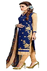 ZHot Fashion Women's Embroidered Un-stitched Dress Material In Cotton Fabric (ZHDM1012) Blue