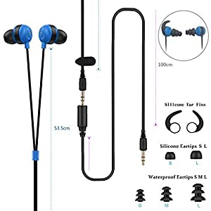 Waterproof Earbuds IPX8 Swimming Earphones in-Ear Headphones with Stereo Audio Extension Cable,Sport Earphones 100% Waterproof Swimming Earbuds(Blue) VZ SPORT MATE (Color: Blue)