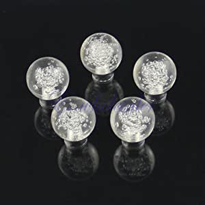 5PCS Clear Ball w/Bubble Door Knob Cabinet Drawer Box Pull Handle DIY Decoration
