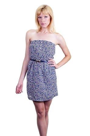 Peppermint Geometric Mod Yellow Pink On White Chiffon Empire Waist Strapless Mini Dress Multi Large