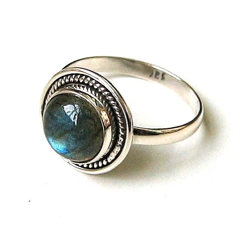 Shanya Sterling Silver Ethnic Ring Labradorite (Black Rainbow Moonstone)
