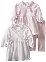 Little Me Baby-Girls Newborn Bloom 2 Pack Dress And Legging Set, White/Pink, 9 Months